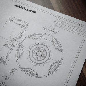 Felgen-Konstruktionszeichnung von Messer Wheels